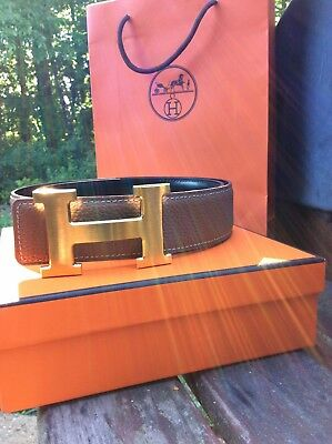 Mens Hermes Leather Belt Brown With Gold H Buckle Reversible Black Waist Size 36