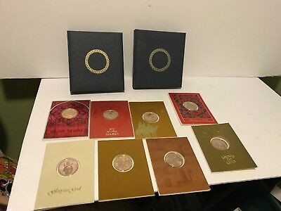 Lot Of 8 Franklin Mint Christmas Holiday Cards With Coins 1971-1978 With Albums