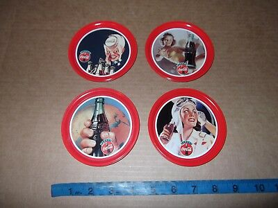 "4 Coca Cola Coke Drink Coasters 4 1/8"" Made In Italy Sprite Boy Pin-Up Aviator"