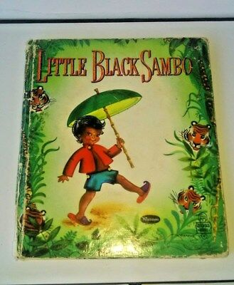 Little Black Sambo Childrens Book in shadow box with Vintage figures