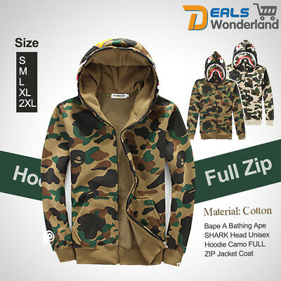 8424c78e90e5 Bape A Bathing Ape Coat SHARK Head Hoodie Camo Unisex Pullover FULL ZIP  Jacket
