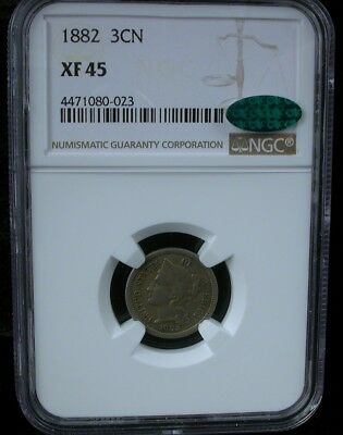 1882 3Cn Ngc Xf 45 Cac 1882 Three Cent Nickel