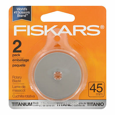 Fiskars 2 Pack Rotary Replacement Blades 45Mm Titanium Blade Coating New
