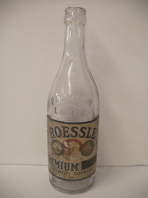 Rare 12 oz pre-prohibition beer Bottle w/ label roessle lager Brewing Boston Ma