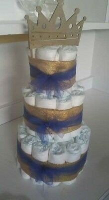 3 Tier Diaper Cake Royal Blue and Gold BOY Baby Shower Centerpiece