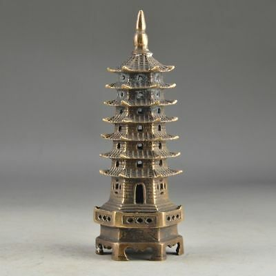 China Brass Vintage Handwork Hammered 7 Storey Exorcist Collectable Tower