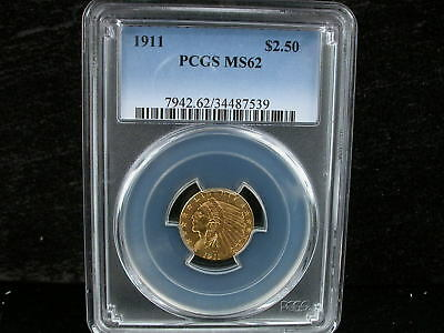 1911 $2.5 Indian Gold Coin Pcgs Ms 62 1911 $2.50 Indian Quarter Eagle