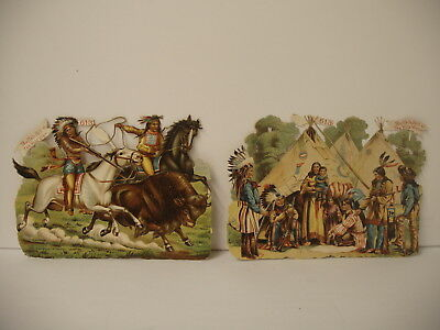 Rare Two different Buffalo Bill Wild West Show Diecut trade Cards indians