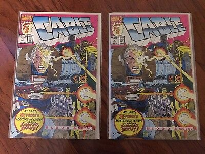 Lot of 2 - Cable 1 Marvel 1992 Deadpool movie 1st solo comic Blood and Metal
