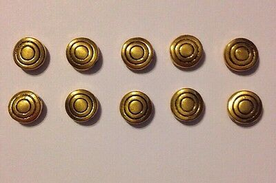 Antique Gold Tone Alloy Bullseye Circle Tapered Depth Charm / Bead Lot Of 10