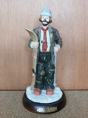 Emmett Kelly Jr Skier with Wood Stand Flambro Rare