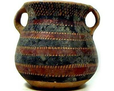 Ancient Neolithic (?) Painted Two Handle Clay Pot/Vase 2000BC