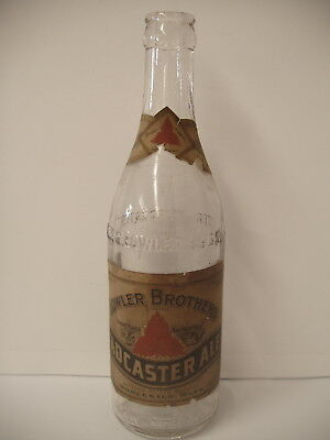 Rare 12 oz pre-prohibition beer Bottle w/ label bowler brothers Brewing Ma