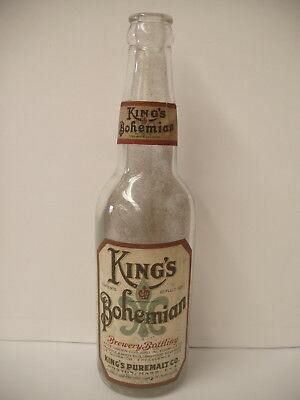 Rare 10 oz prohibition beer Bottle with label King's bohemian Boston Ma