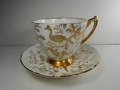 Vintage Coalport Tea Cup and Saucer. Cairo Bird Insects Gold on White.