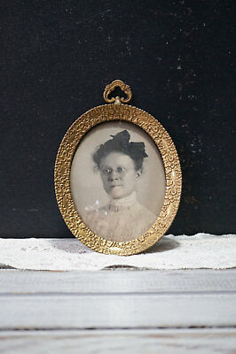 small miniature brass Antique Victorian Oval Picture Frame
