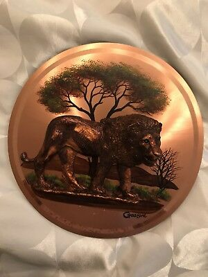 Beautiful Copper Plate With Lion From Zambia