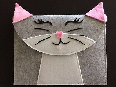 Kitty Cat Grey Felt Press Clip Pencil Case