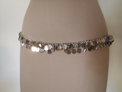 Bellydancing Belt? Chain Disc Belt, Silver, Size Large, New Without Tags