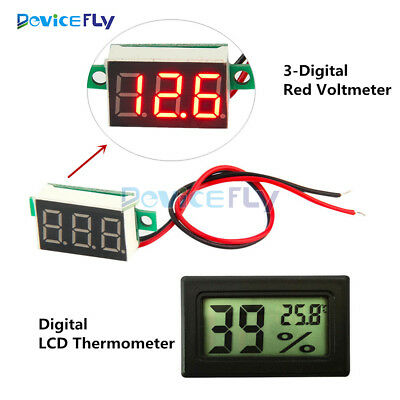 LCD Temperature Humidity Thermometer Hygrometer Red LED 3-Digital Voltage Meter