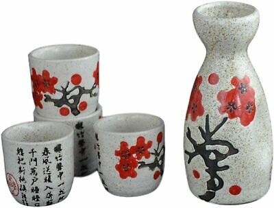 5 PCS Wine Liquor Spirit Sake Alcohol Porcelain Pot Set 1 Pot 4 Cups Chinese ...