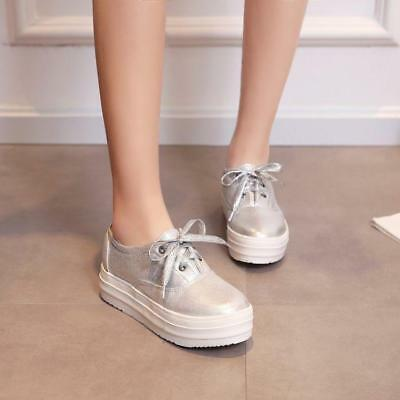 Womens Lace Up Sneakers Platform Creeper Athletic Sport Leisure Shoes Platform