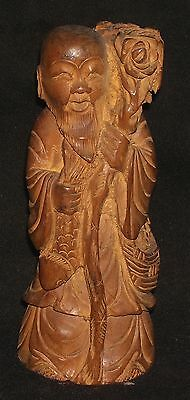 Vintage Decorative wooden craft Monk Figure Rare handmade Asian post 1940