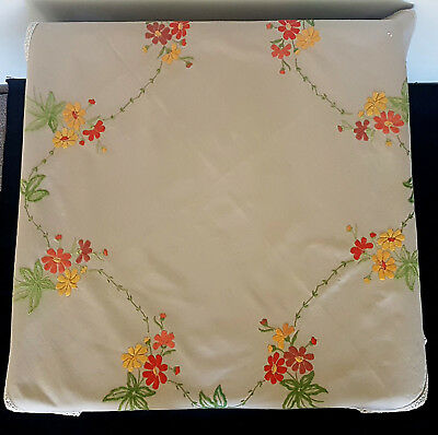 VINTAGE TABLE CLOTH, 1960's, COFFEE COLOURED BACKGROUND w EMBROIDERED FLOWERS