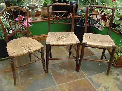 3 Rush Seated Victorian Chairs - Somerset