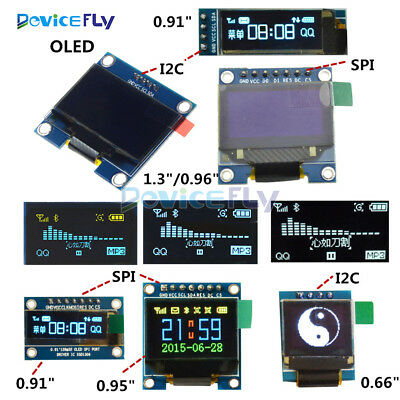 0.91/0.95/0.96/0.66/1.3 inch 4/7Pin I2C SPI OLED LCD LED RGB Blue Yellow/White