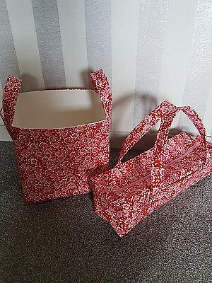 Large Knitting Needle Bag and Matching Storage Basket. Red/Pink Floral. Handmade