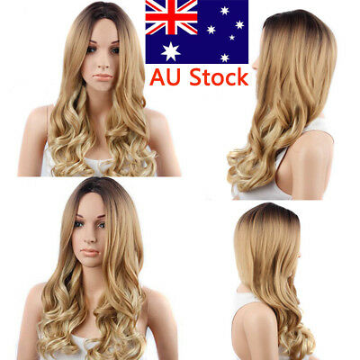 Women Fashion Long Curly Blonde Hairstyle Wig Front None Lace Synthetic Hair Wig