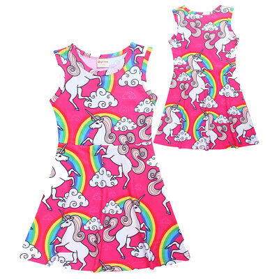 AU Unicorn Dress Summer Sleeveless Kids Girls Casual Party Dresses Vest Skirt