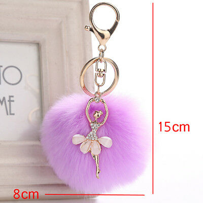 1X Angel Ballet Dancing Girl Fluffy Keychain Faux Rabbit Fur Car Pendant Keyring