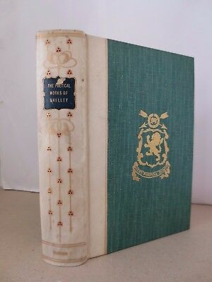 1912 Shelley Poems in vellum coloured gilt floral art nouveau Oxford binding