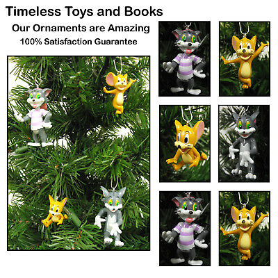 Tom and Jerry 4 Piece Christmas Ornaments Set Featuring Tom and Jerry