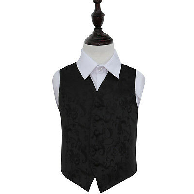 DQT Woven Floral Black Page Boys Wedding Waistcoat 2-14 Years
