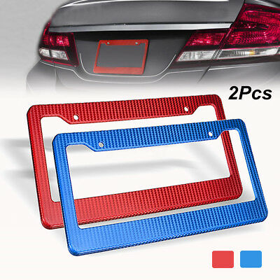 Pair Universal Car ABS Plastic Carbon Look License Number Plate Frame Cover New