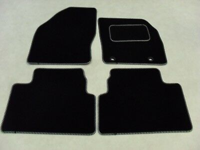 Ford Kuga 2008-12 Fully Tailored Deluxe Car Mats in Black with Black/Silver Trim