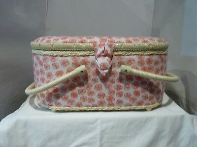 Large Craft Padded White/Pink Sewing Box New With 2 Handles And Compartment Box