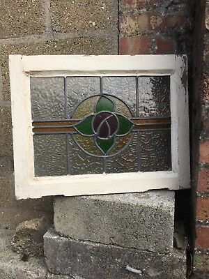 Original Vintage Leaded Stained Glass Window 530mm x 415mm