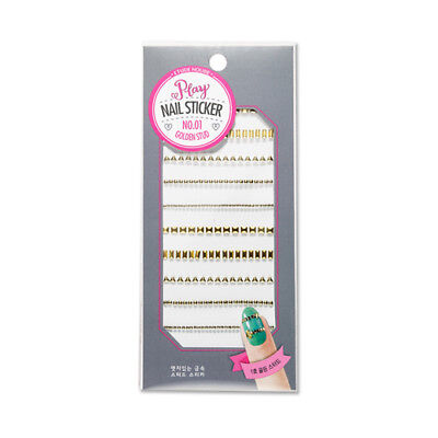 [ETUDE HOUSE] Play Nail Sticker - 1pcs #01 Golden Stud / Free Gift