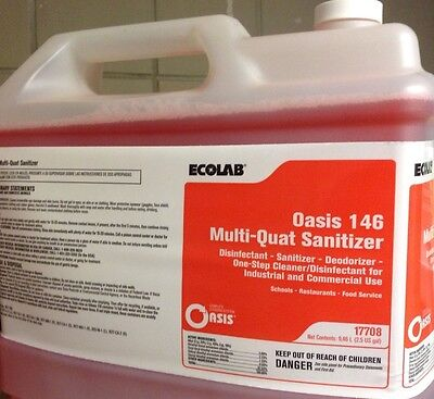 Fresh & Sealed. Ecolab #17708 Sanitizer Oasis 146 Multi Quat Sanitizer. 2.5 Gal.