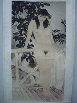 Very Large Old Chinese Scroll Hand Painting Bathing Nude Woman Marks QB048