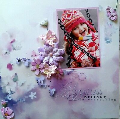 12 x 12 Handmade Scrapbook Page - Happiness...Delight In Everything