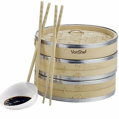 """VonShef 8"""" / 20cm Two-Tier Bamboo Steamer with Stainless Steel Banding - 2 Pairs"""