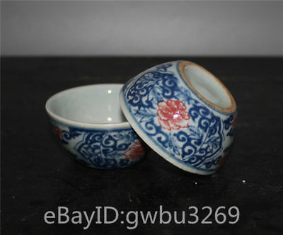 A Pair Tea Bowls Rare Blue And White Porcelain Flower - Chinese