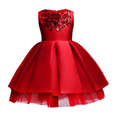 Girl Dress for Wedding Party Sequins Flowers Princess Girls Dresses Summer Girl