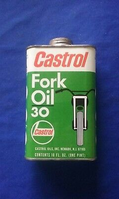 Vintage Castrol Fork Oil Tin Can Grade 30 for Motorcycles No UPC Label