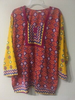 Womens Tunic Top Full Sleeve Short Kurta Kurti Indian Ethnic Blouse XXL
